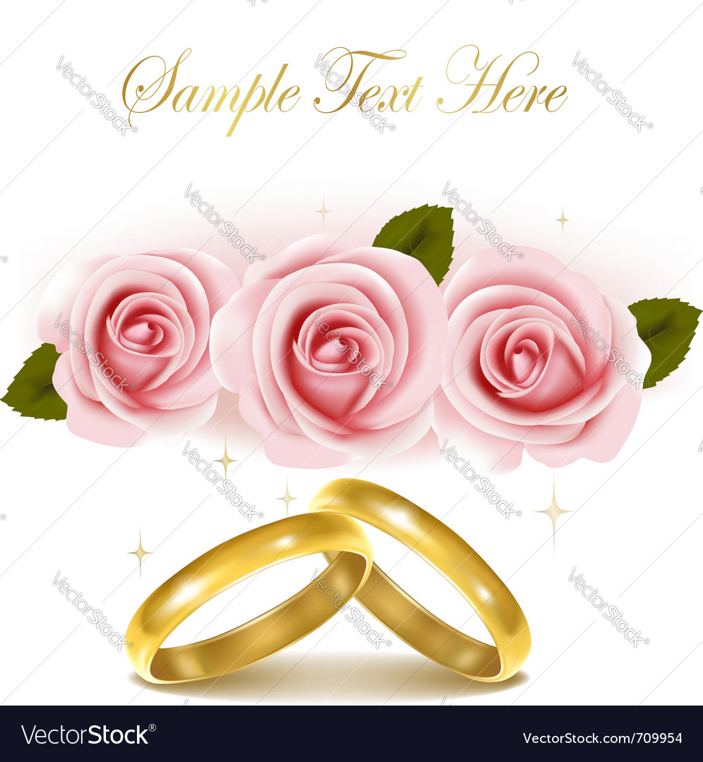 Wedding rings and roses bouquet Royalty Free Vector Image