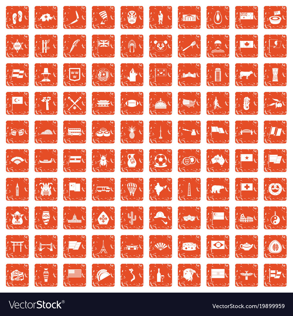 100 national flag icons set grunge orange