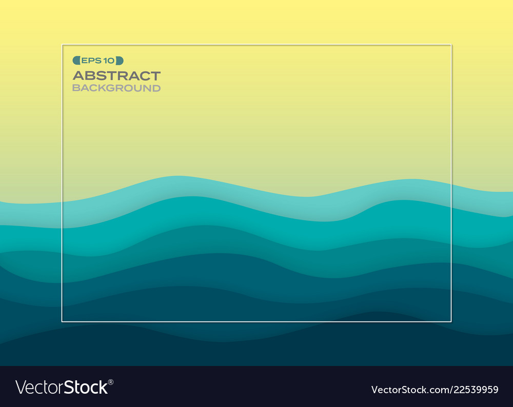 Abstract background of blue paper cut summer sea