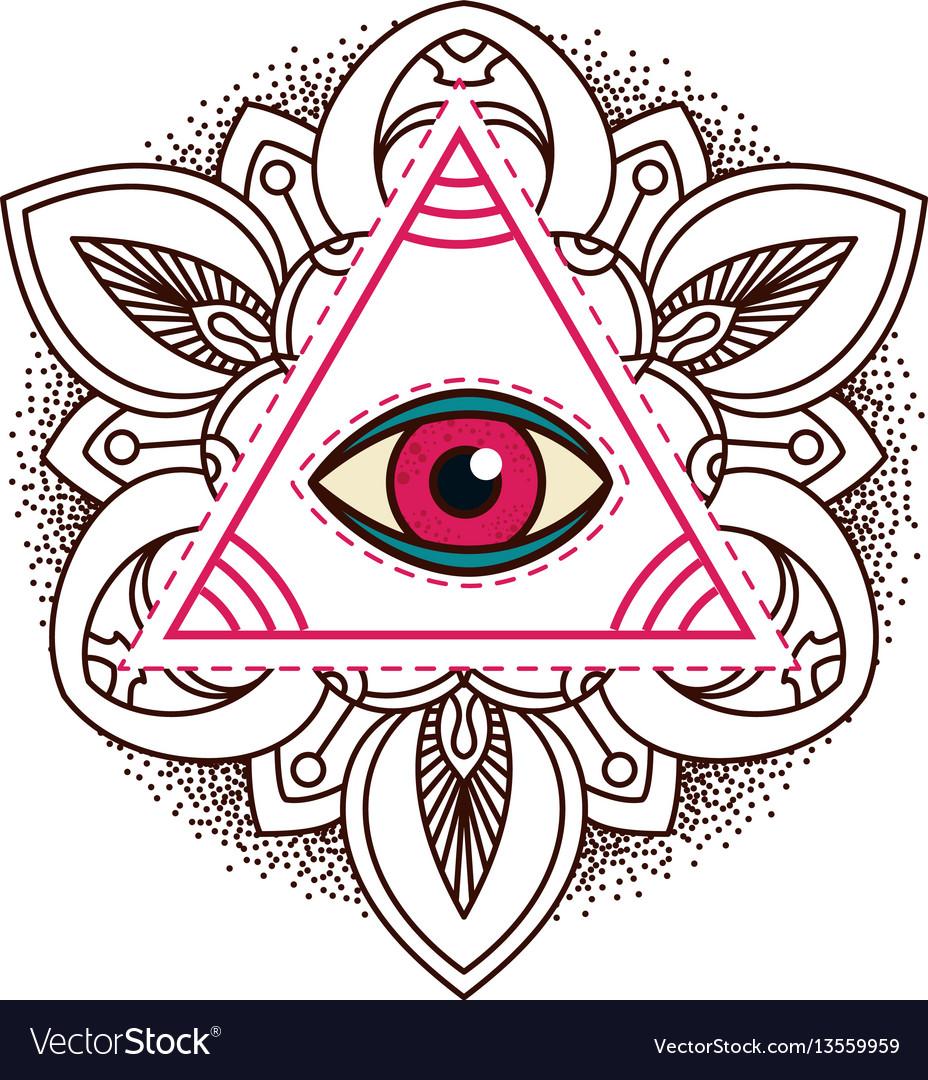 All-seeing eye pyramid symbol vector image