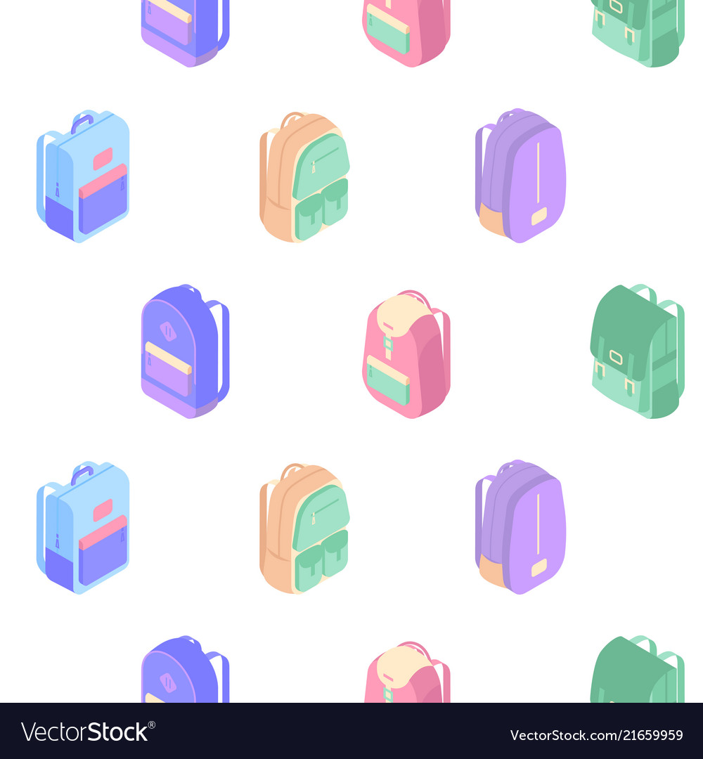 Backpacks seamless pattern with colorful isometric