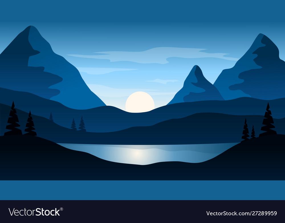 Beautiful Dark Blue Mountain Landscape With Sun Vector Image