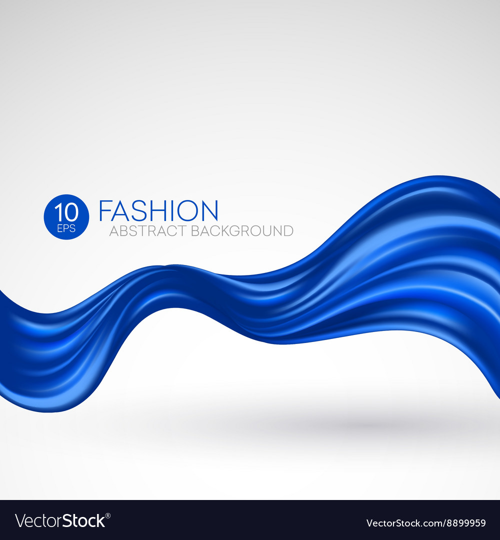 Blue flying silk fabric Fashion background vector image