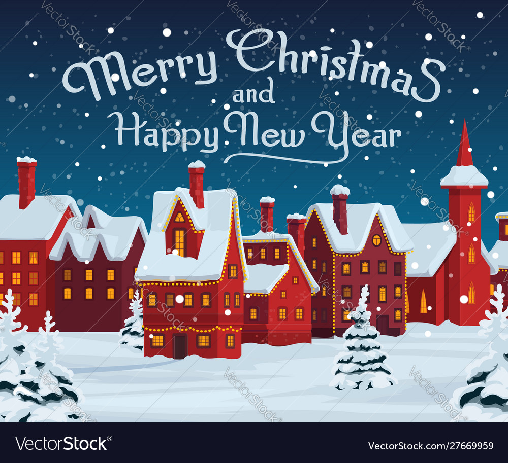 Christmas houses with xmas lights winter holidays