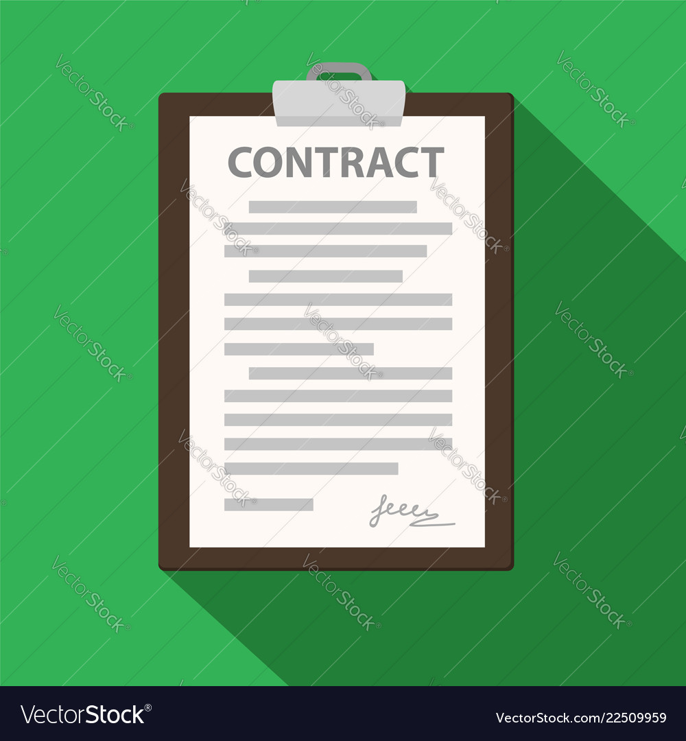 Clipboard with contract document on green flat