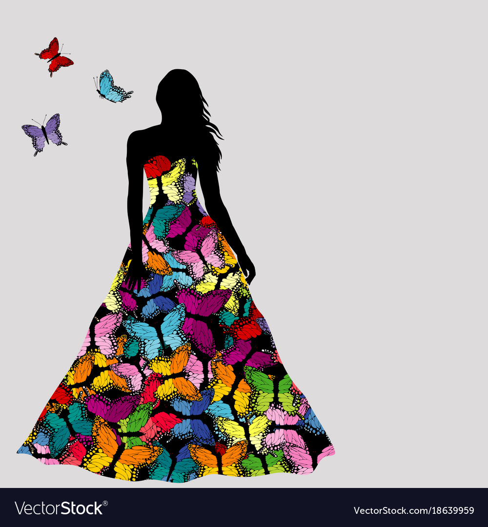 Colorful silhouettes of woman with butterflies