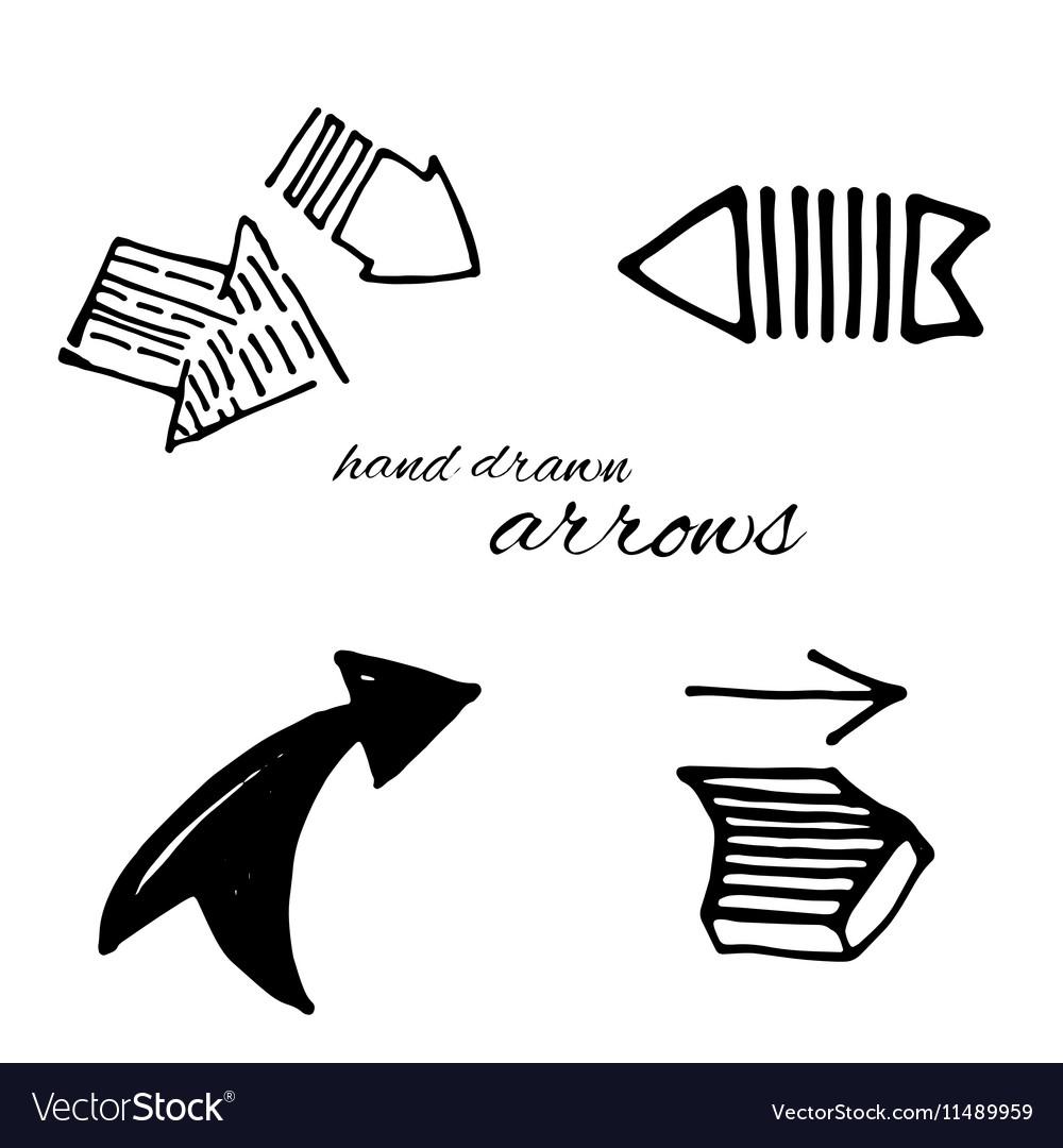 Doodle arrows set vector image