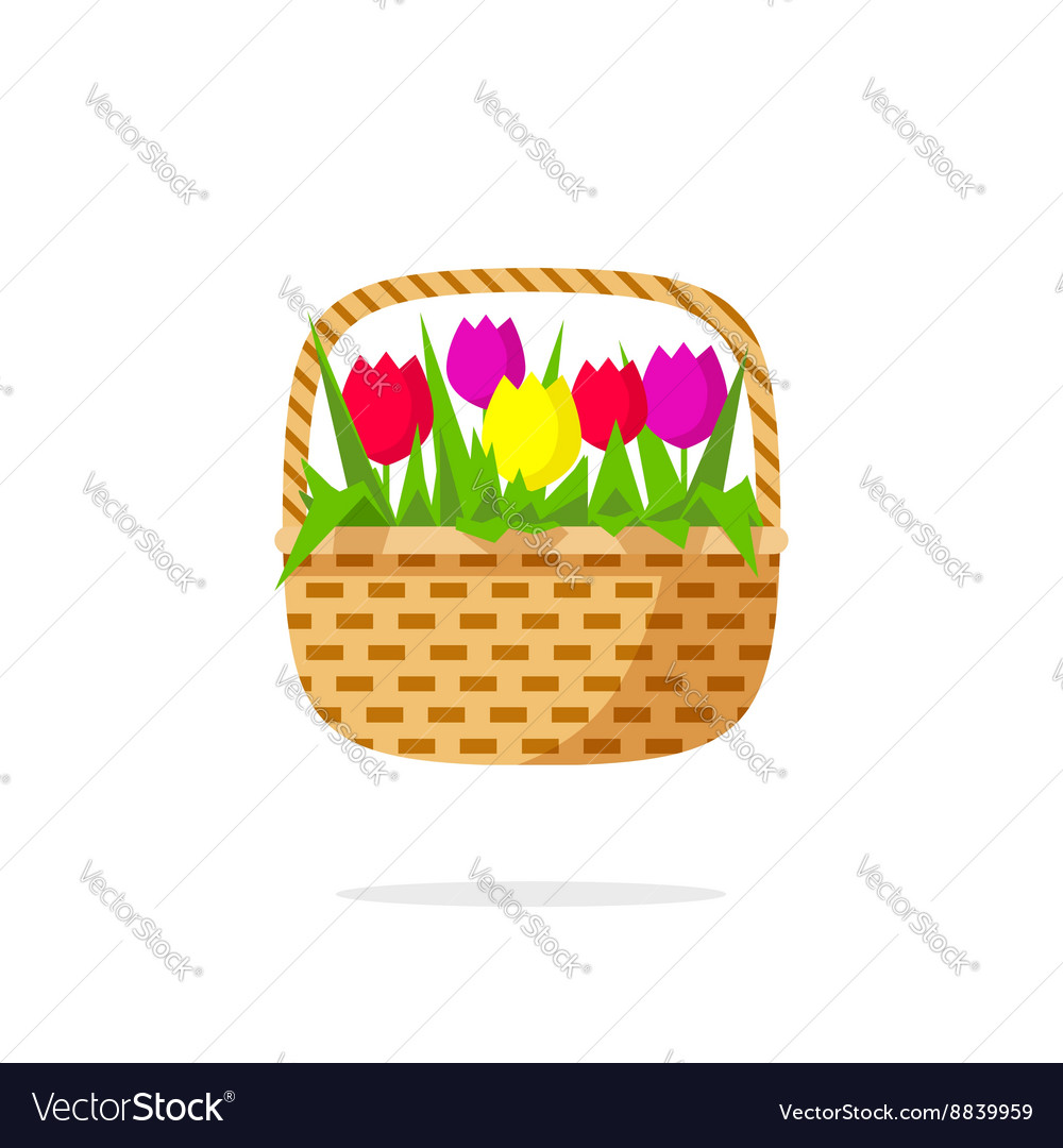 Flowers basket icon beauty bouquet with