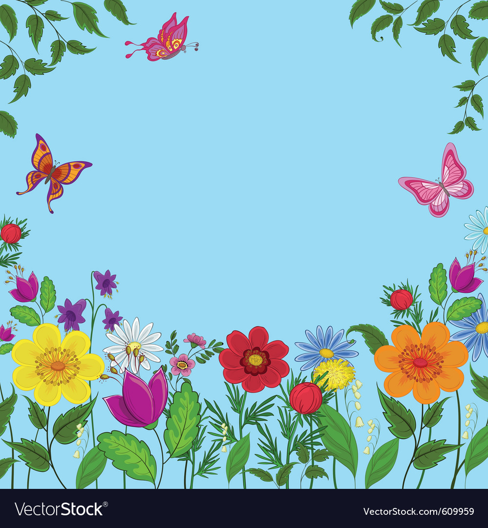 Flowers butterflies vector image