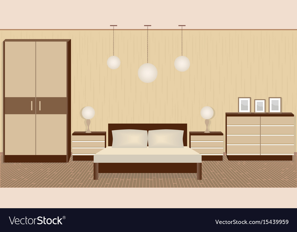 Graceful bedroom interior in warm colors with vector image