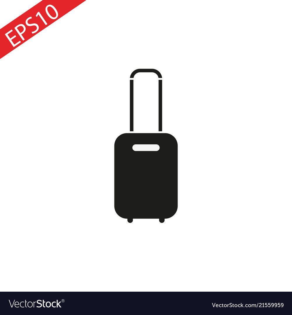 Rolling suitcase icon on white background