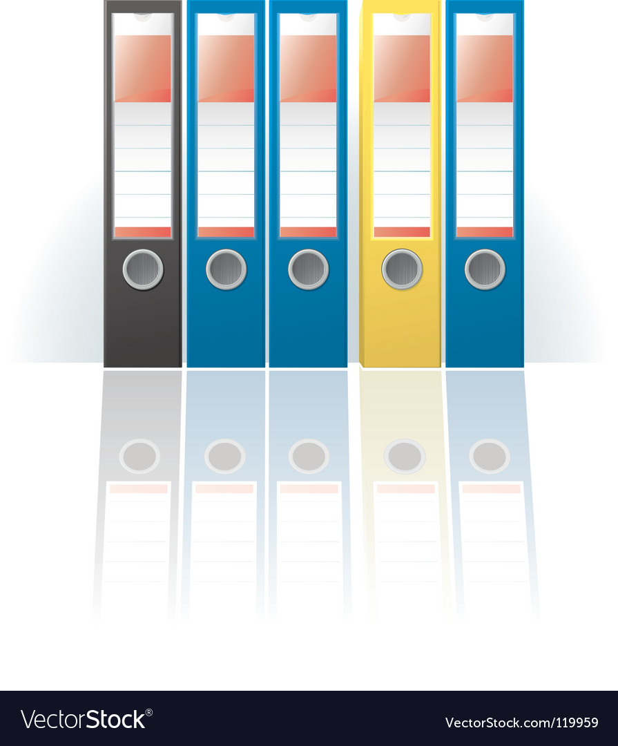 Row of colored ring binders