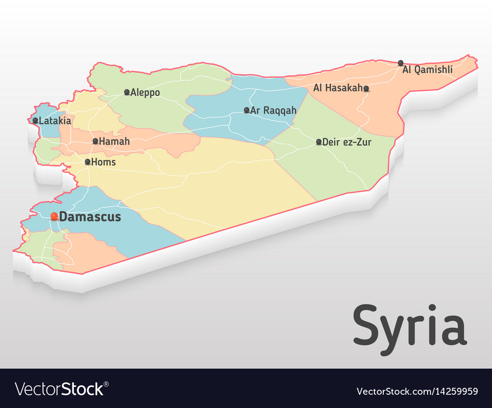 Syria map 3d with main cities and royalty free vector image syria map 3d with main cities and vector image gumiabroncs Gallery