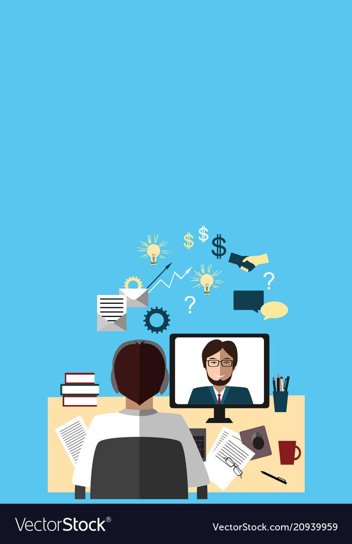 Two businessmen talking about work via internet
