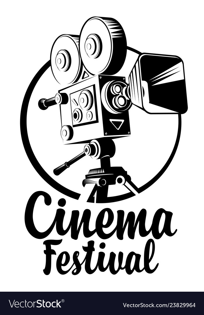 Banner for cinema festival with old movie camera