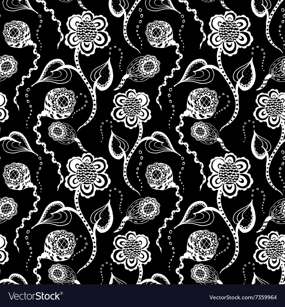 Black seamless pattern with white flower vector image