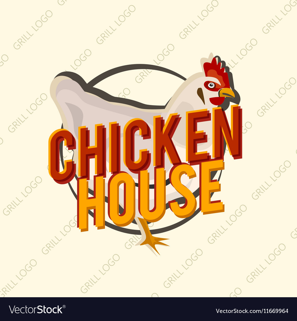 Creative logo design with realistic chicken vector image
