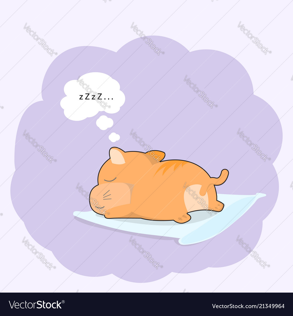Cute baby cat sleeping on pillow cartoon style