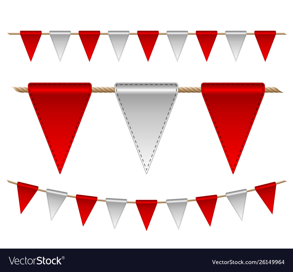 Festive red and white flags on white background