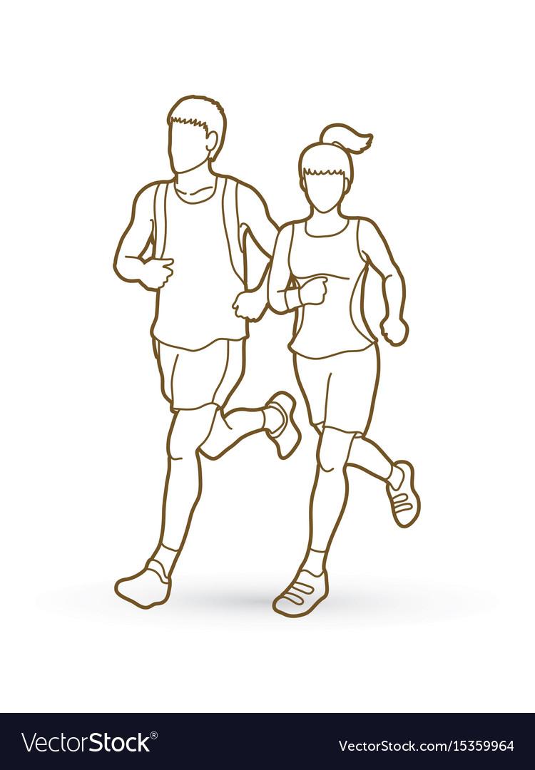 Man and woman running together marathon runner