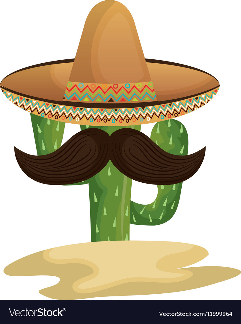Mexican cactus character with hat and mustache vector image