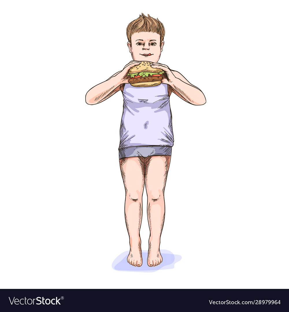 Overweight boy holding big burger in his hands