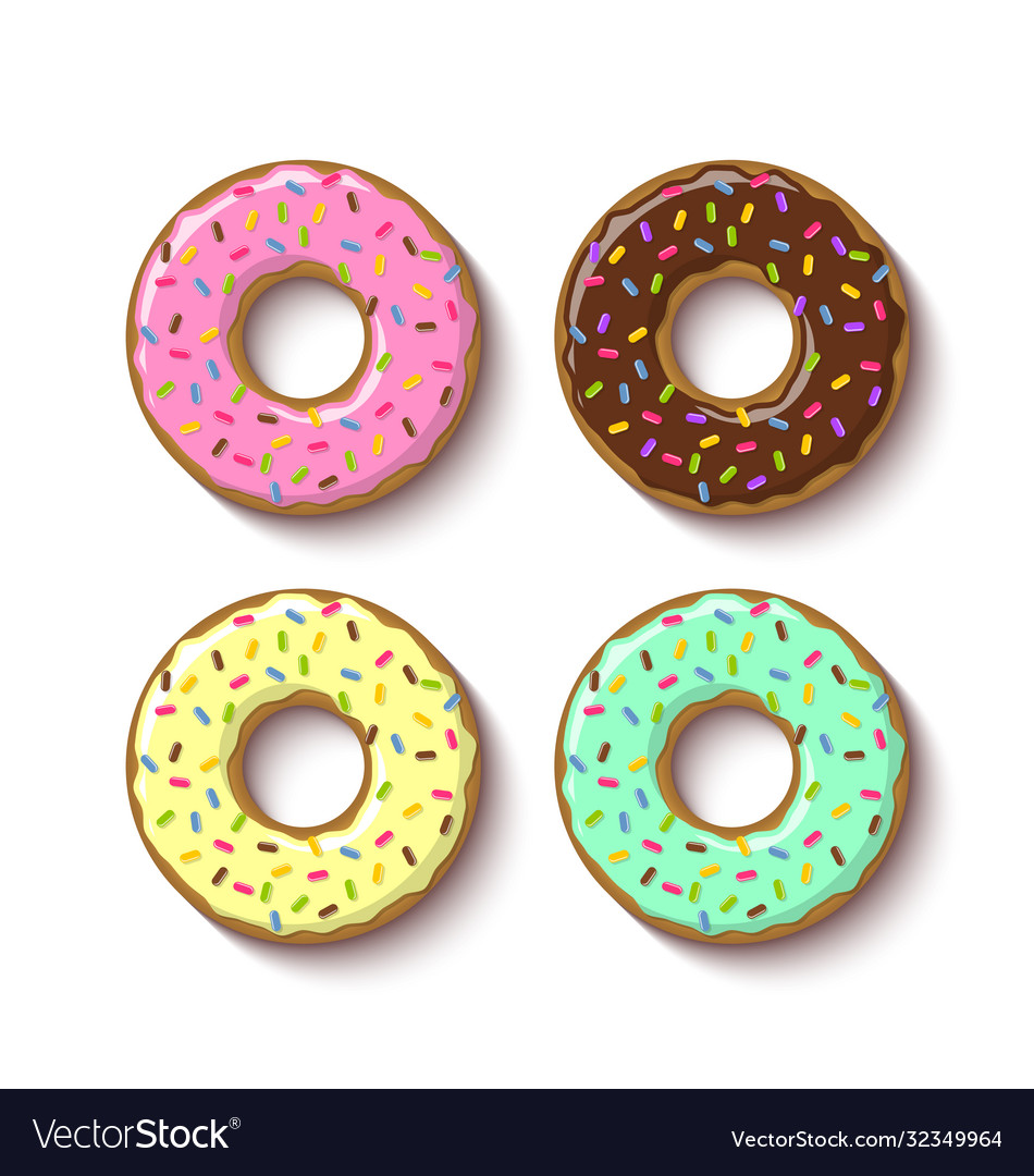 Set ring shaped donuts covered with sweet