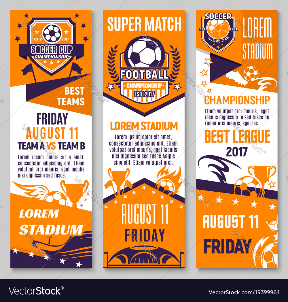 Soccer championship match banner of football sport