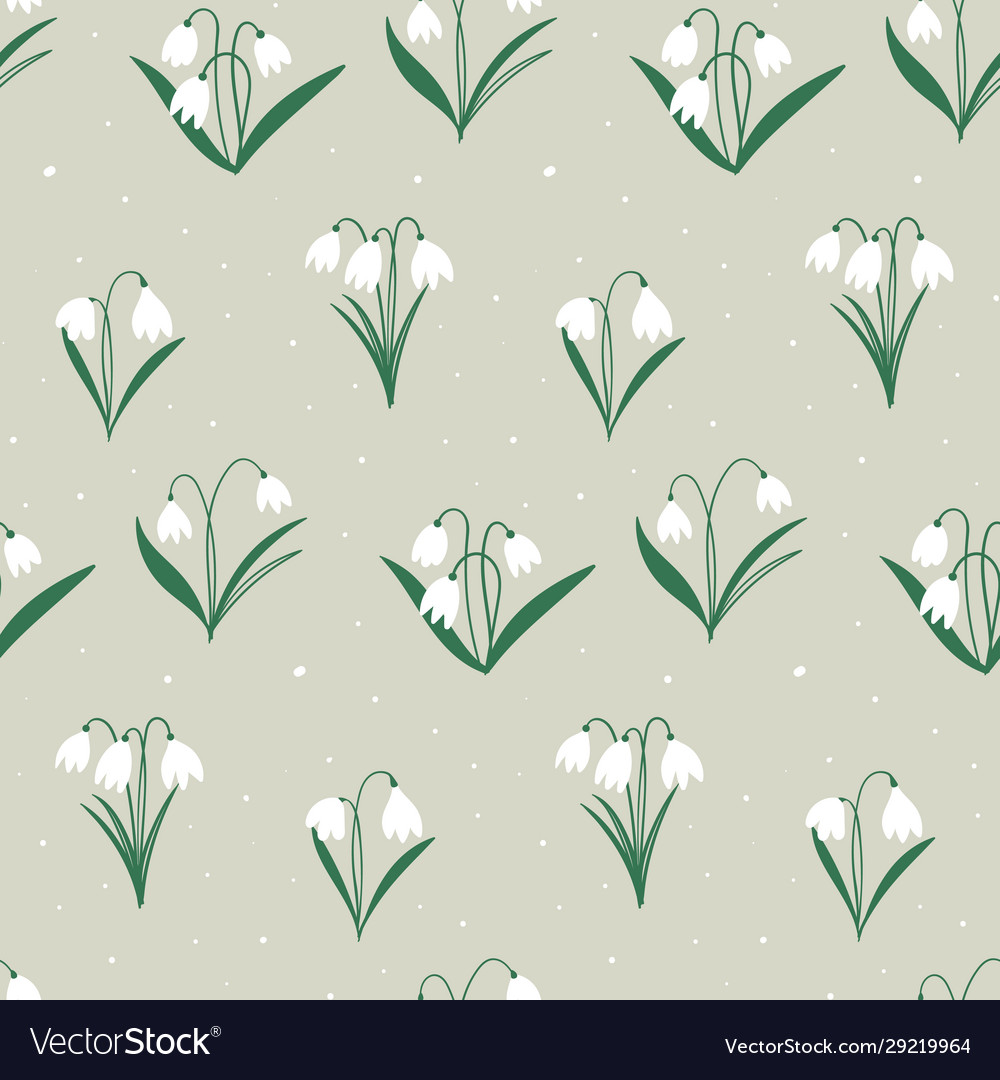 Spring easter pattern with white flowers bells
