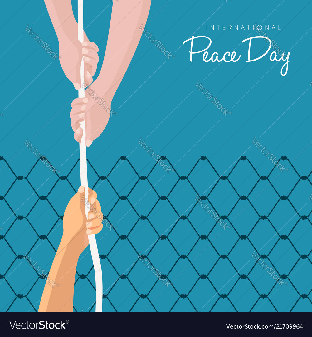 World peace day freedom help card concept
