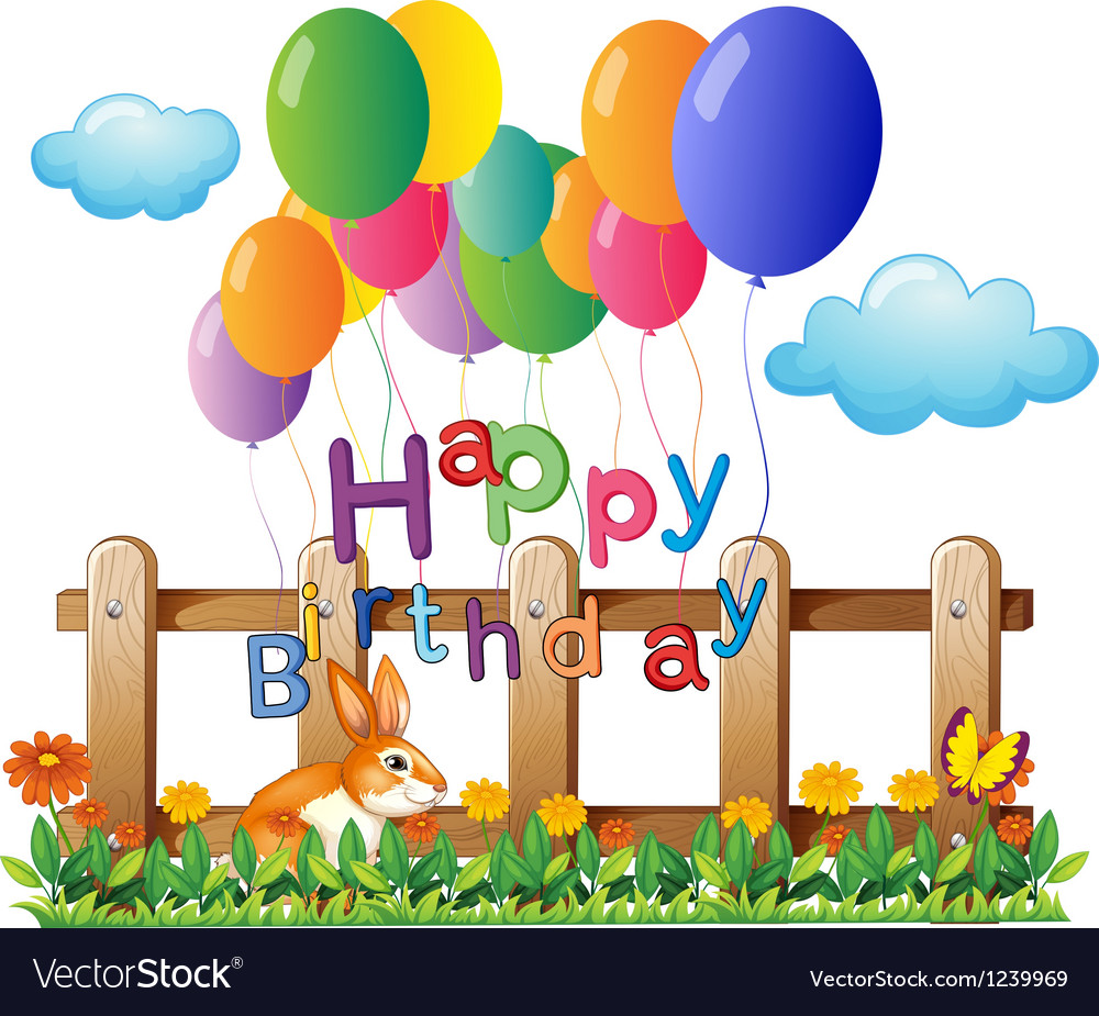 A Happy Birthday Greeting With Balloons Vector Image