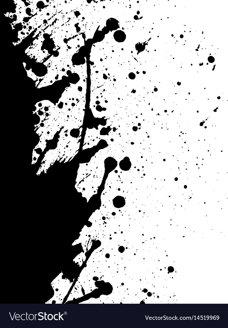 Abstract Black Ink Splatter Background Isolated