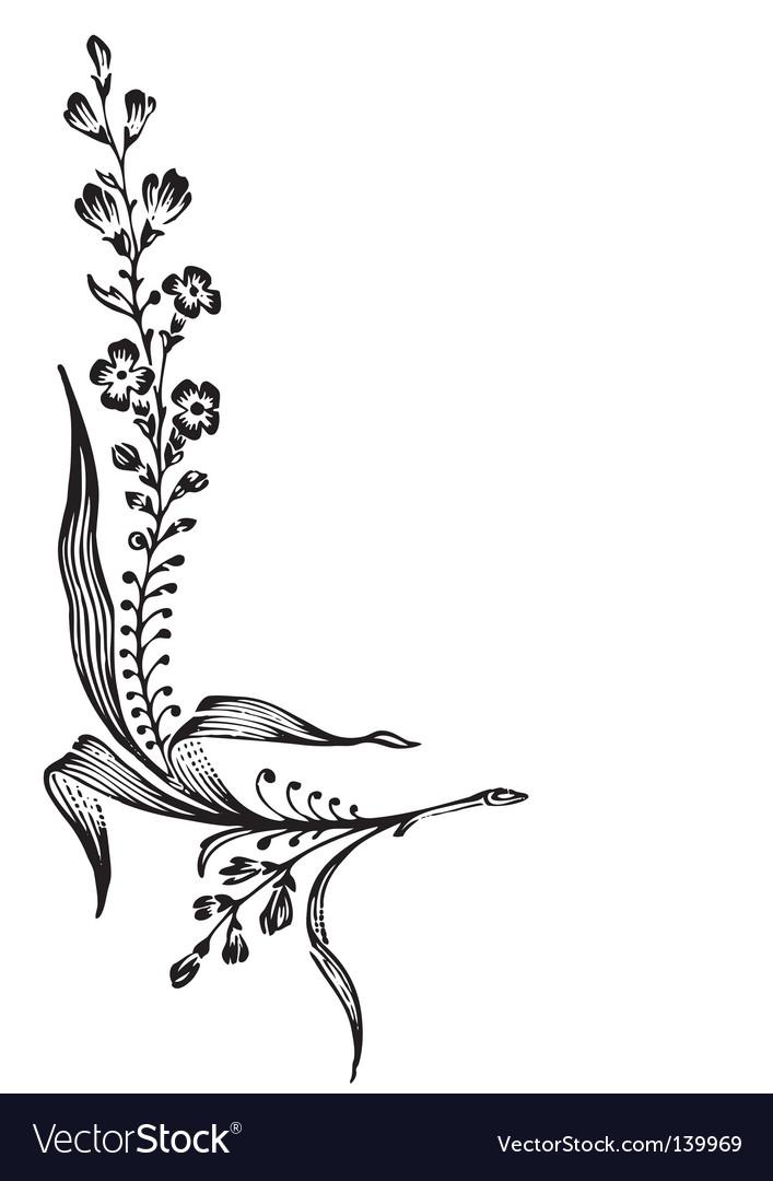 Antique flower corner engraving vector image