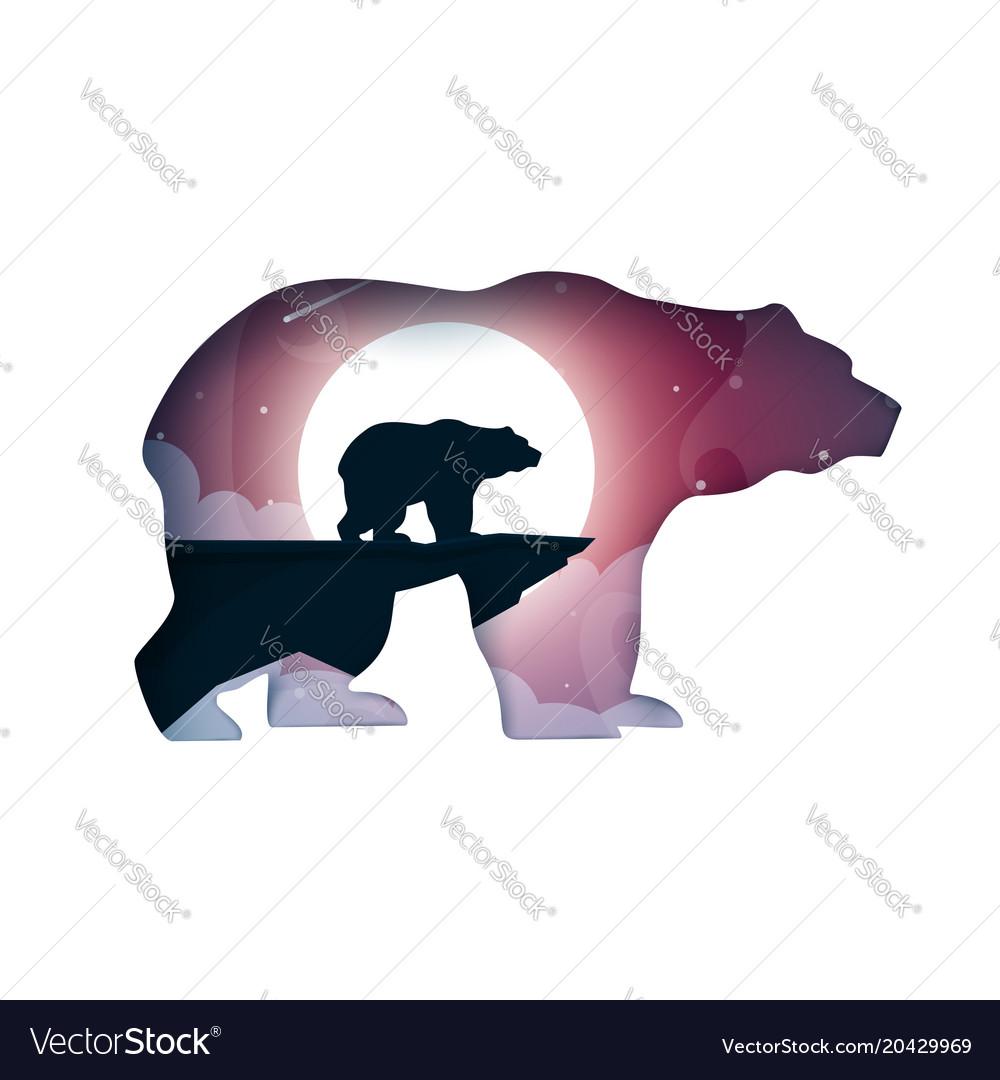 Bear cartoon paper landscape