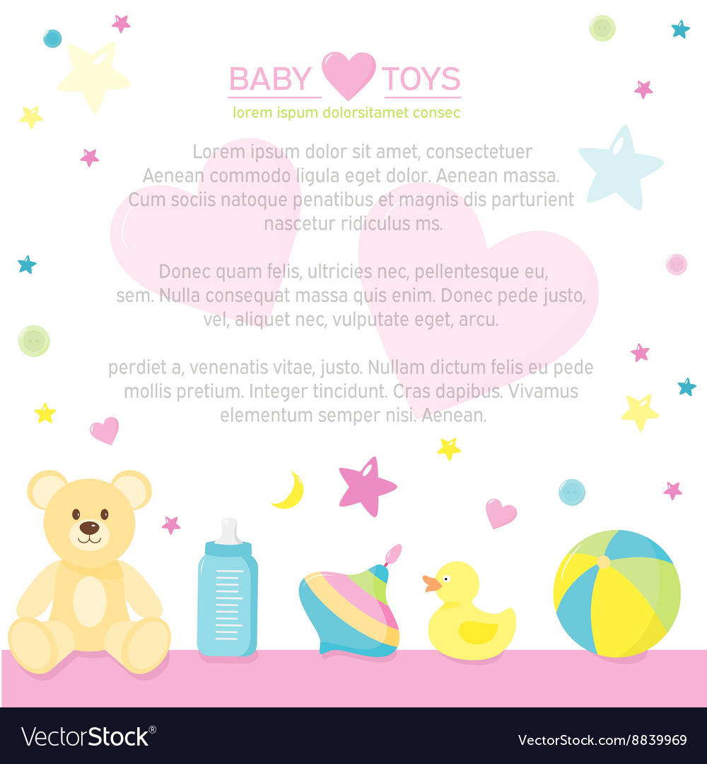 Border Of Baby Care Supplies With Place For Your Vector Image