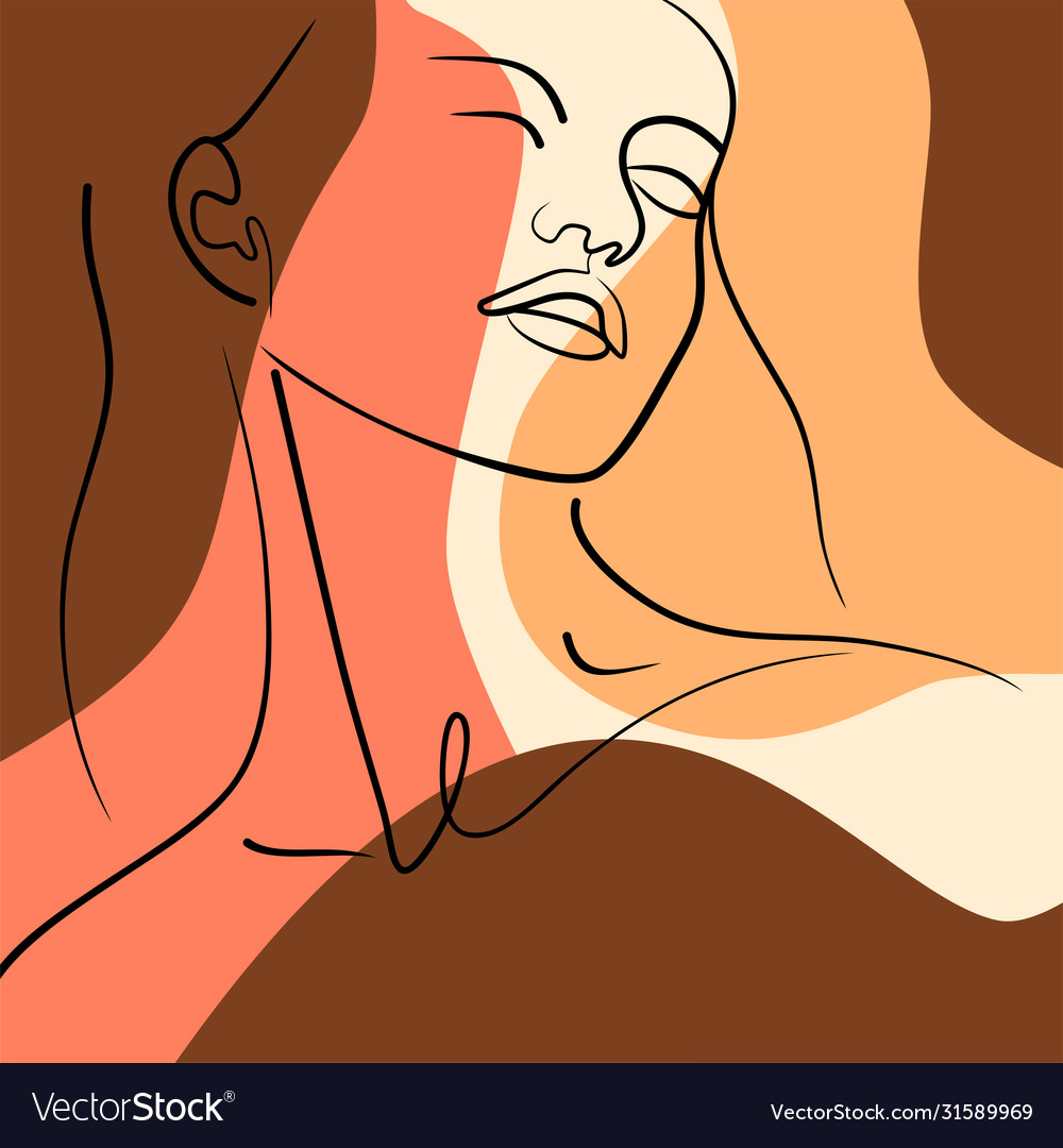 Contour girls face on abstract background