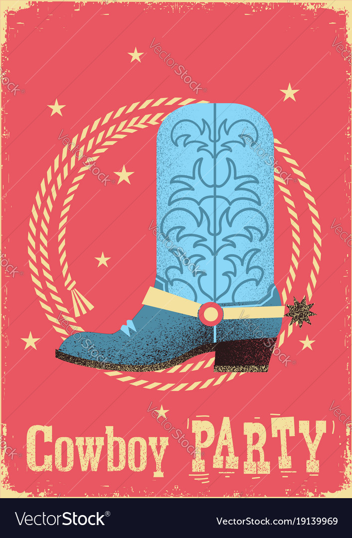 Cowboy party card background with western boot vector image