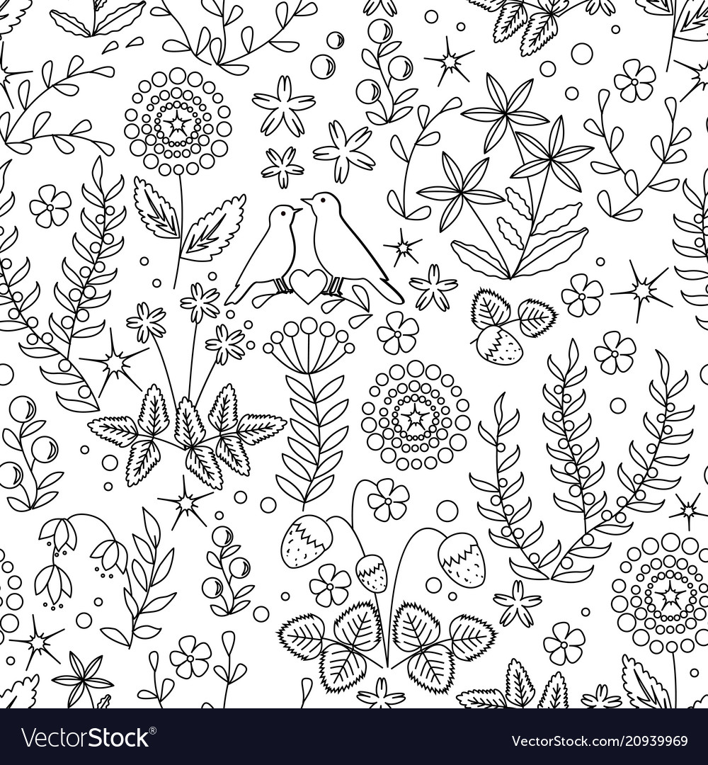 Floral seamless pattern with flowers leaves and