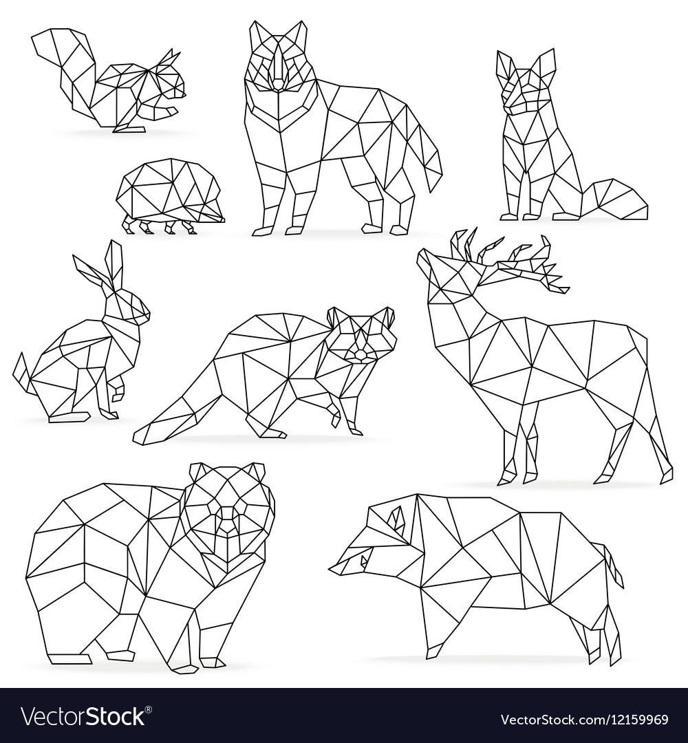 Low poly line animals set origami poligonal line vector