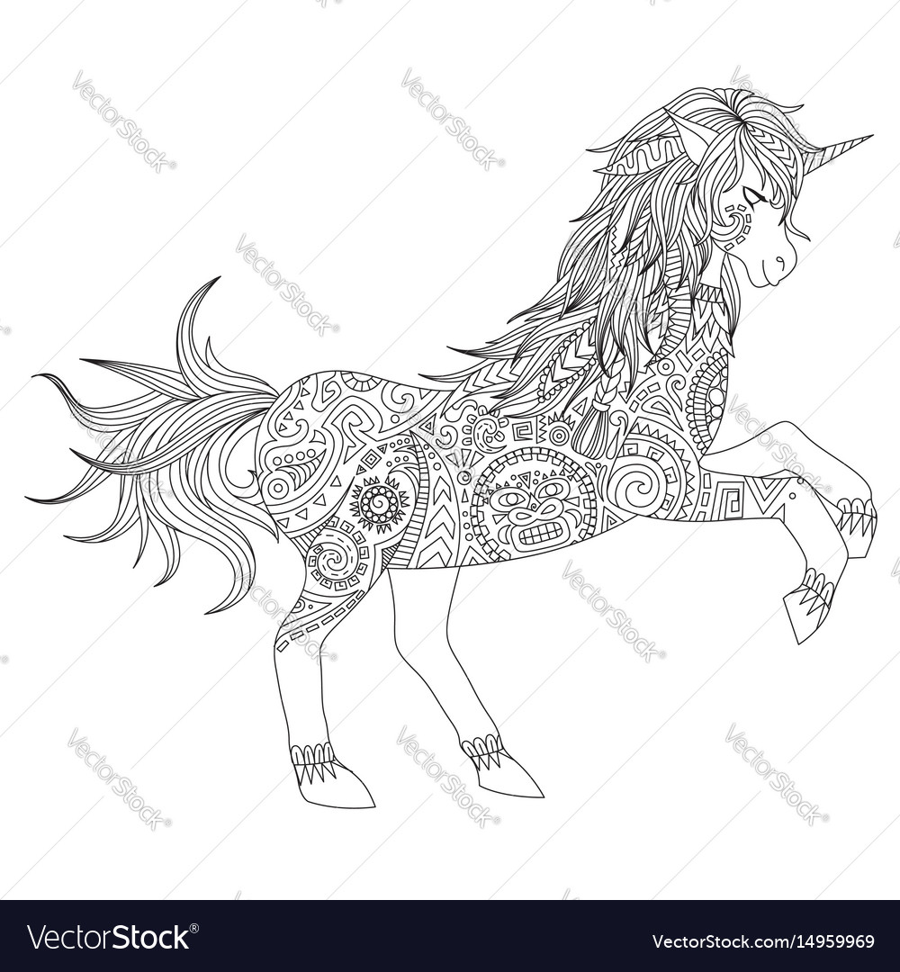 Unicorn about to jump vector image