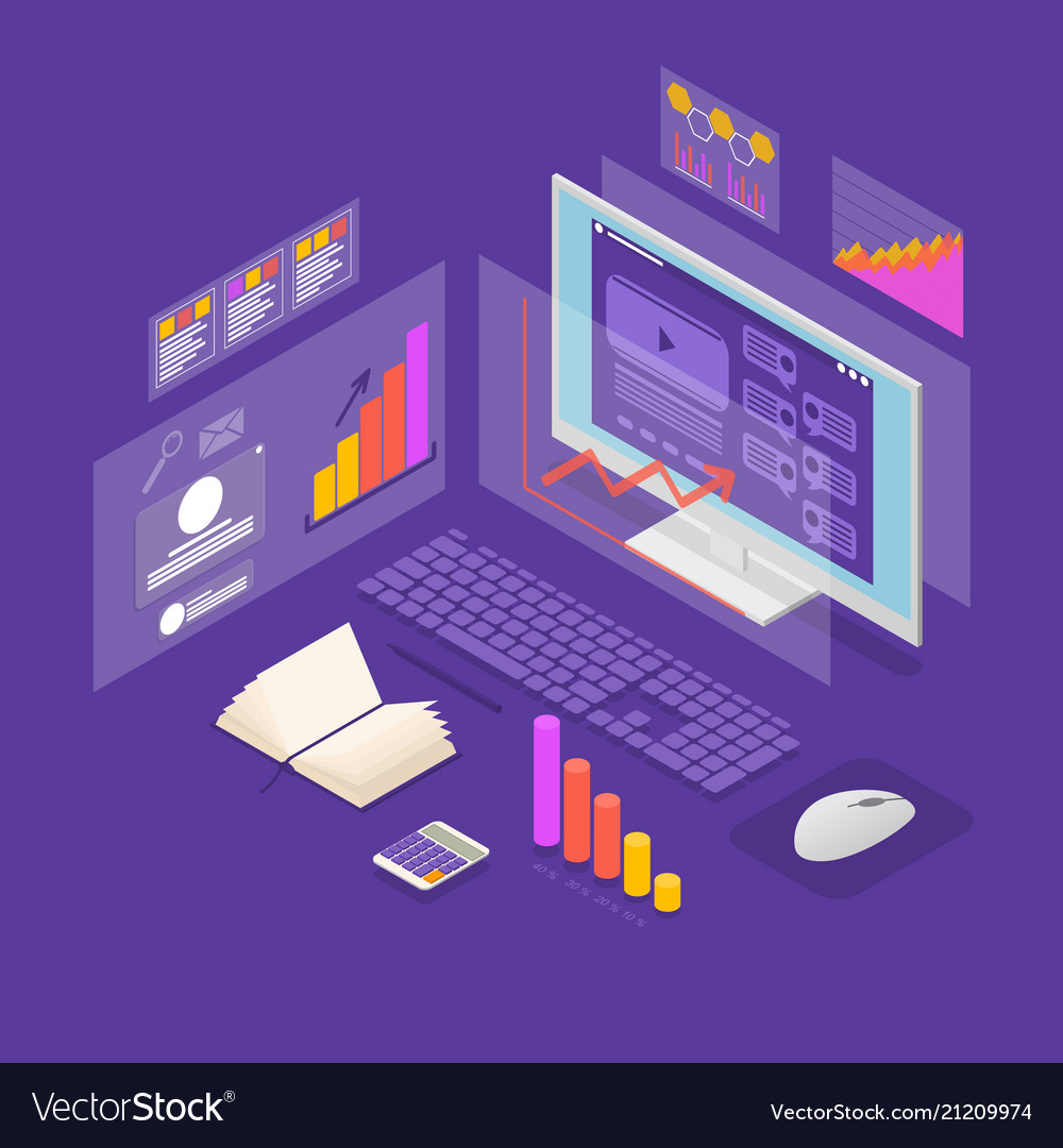 Analysis data investment concept 3d isometric view