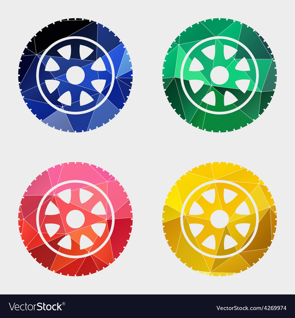 Car wheel icon Abstract Triangle