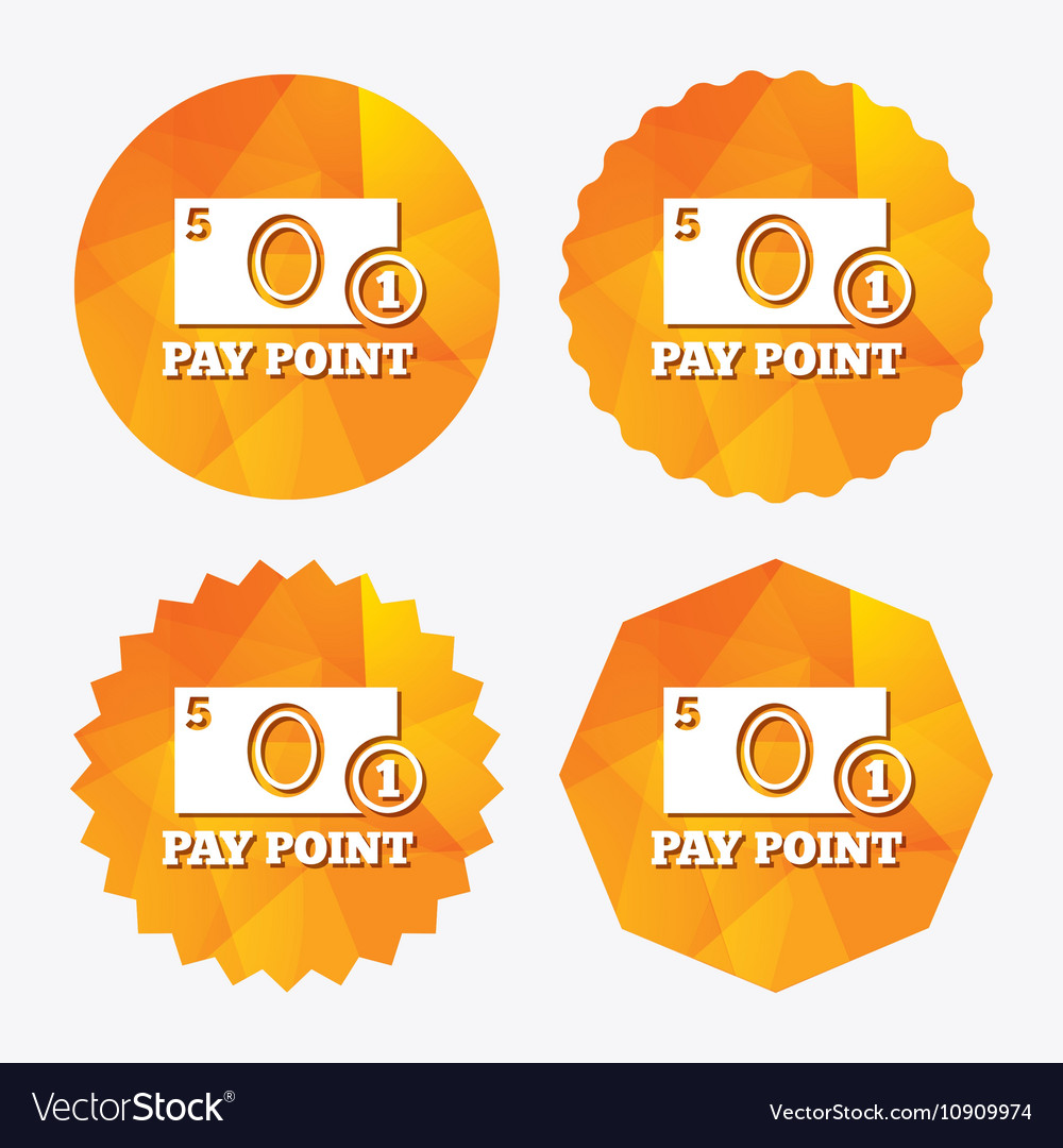 Cash and coin sign icon Pay point symbol vector image on VectorStock