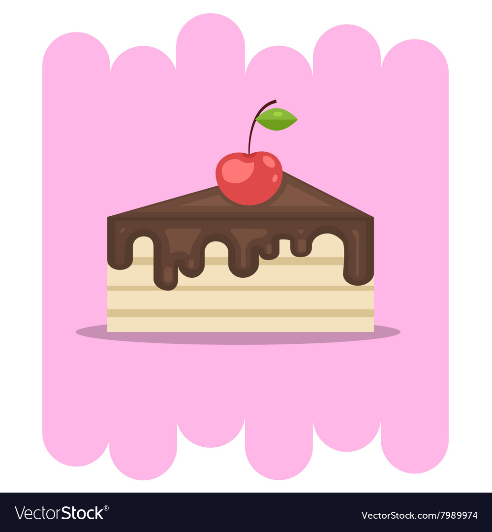 Chocolate cake icon with cherry