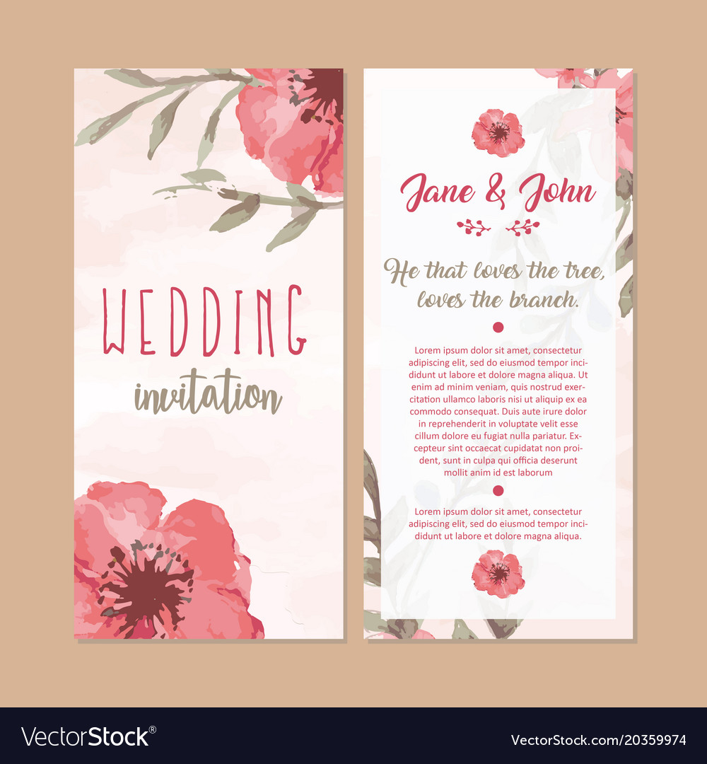 Colorful Invitation Greetings Card With Flowers Vector Image