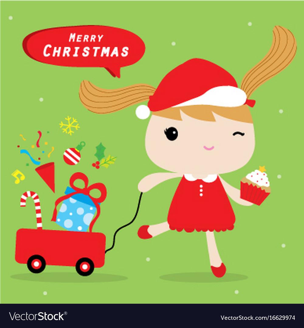 Girl love merry christmas cute cartoon Royalty Free Vector