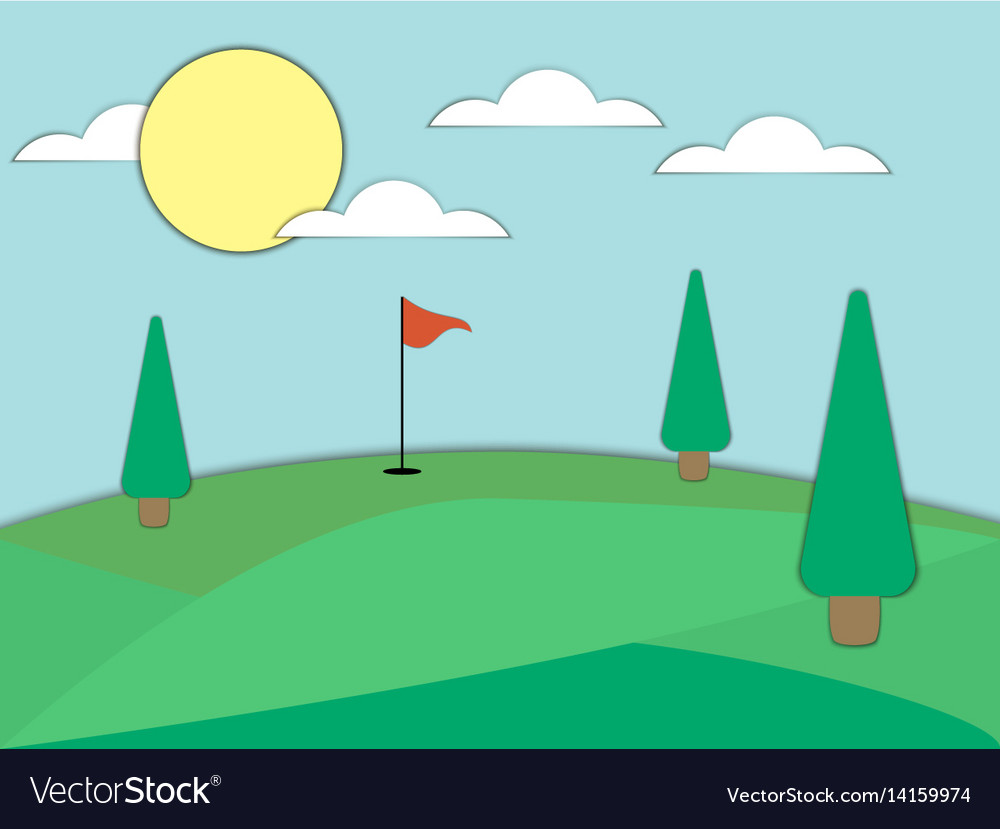 Golf course with a hole and a red flag paper art