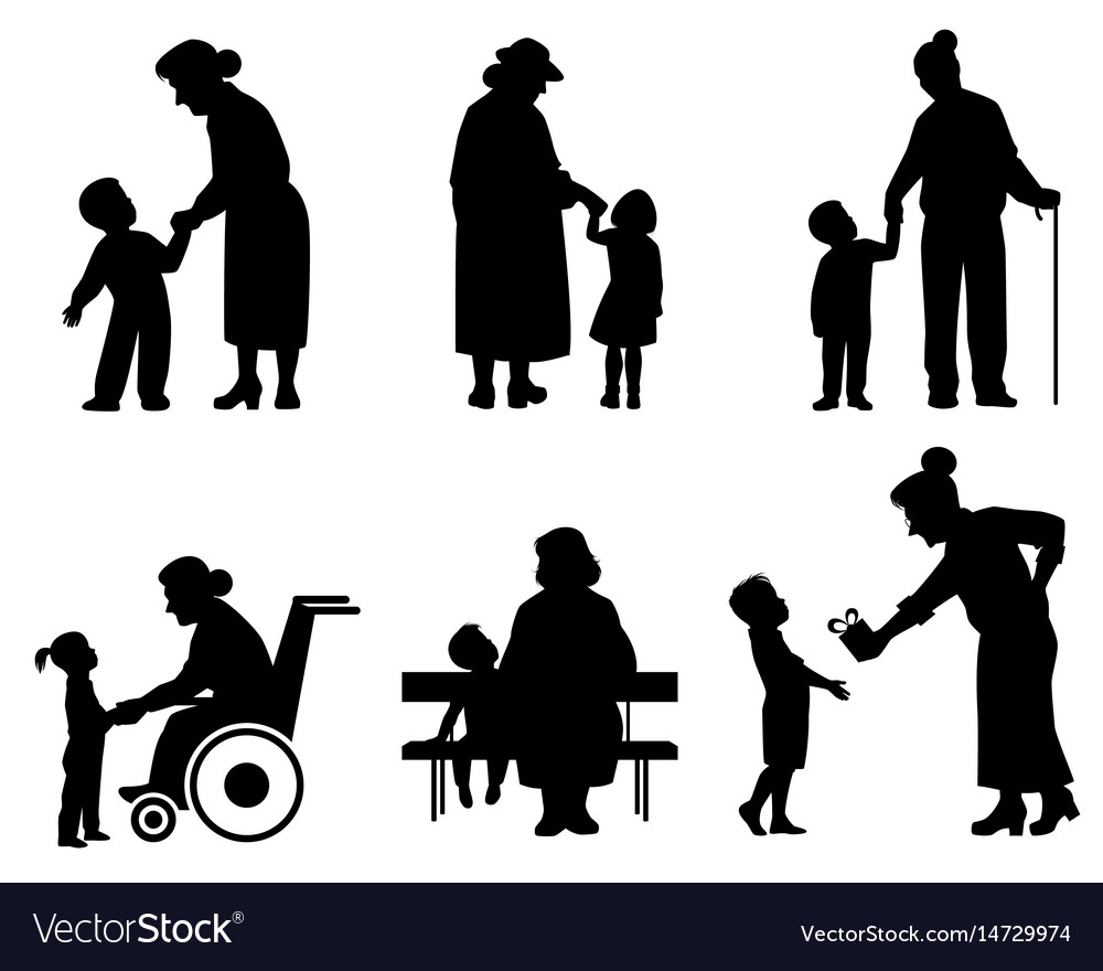 Grandmothers and grandson silhouettes