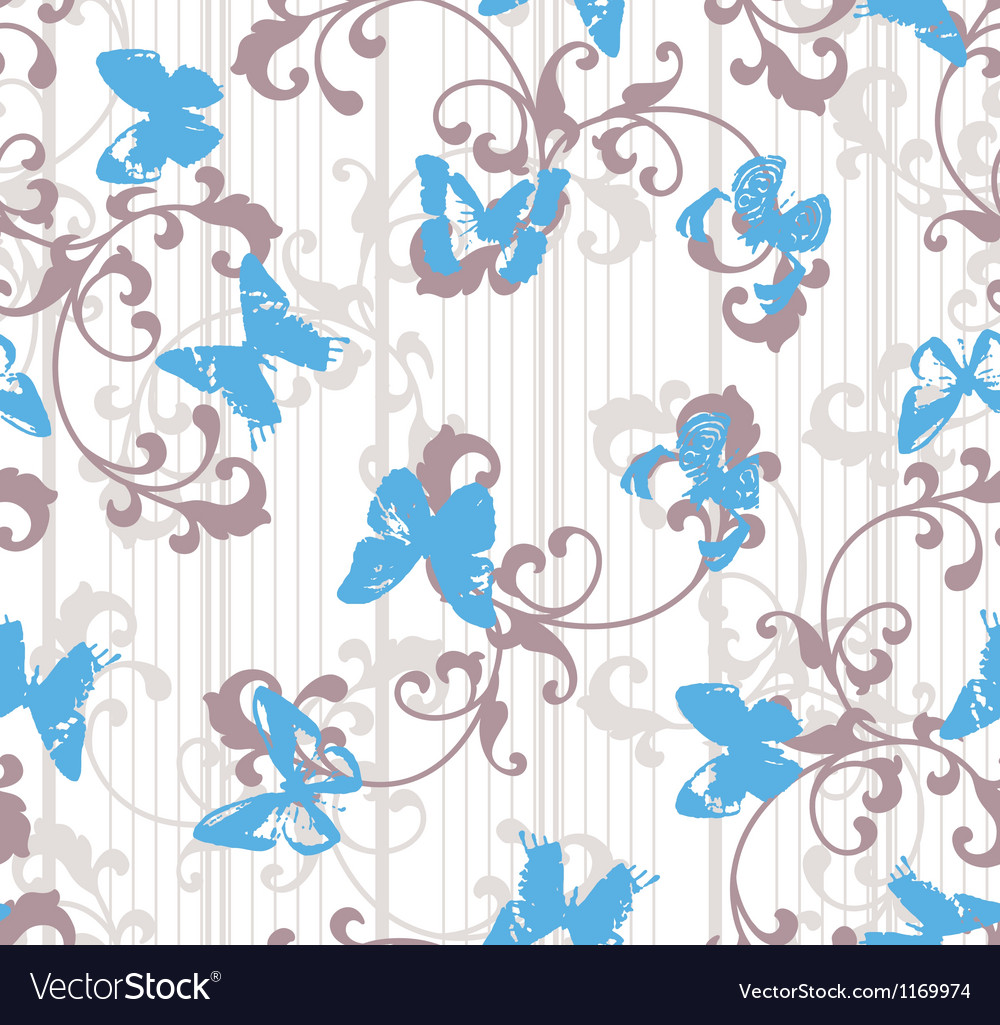 Grunge butterflies with stripes and floral element