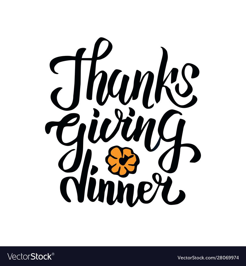 Hand drawn thanksgiving dinner typography